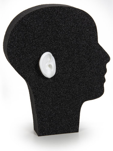 Demo-head with 2 silicon-ears (white)