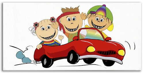 Happy Brackets Trio Car Kids big Canvas