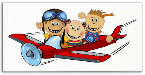 Happy Brackets Trio Aeroplane Kids big Canvas