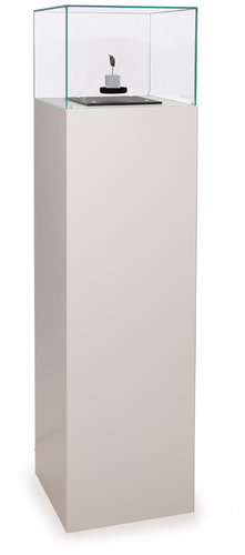 Free standing pedestal big, white  with glas top, free-floating plate (PSU)