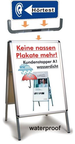 Complete Set People-Stopper (A-Board) waterproff with Mounting device and Sign, without poster