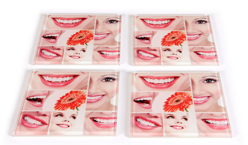Glas-Untersetzer Smile Collage