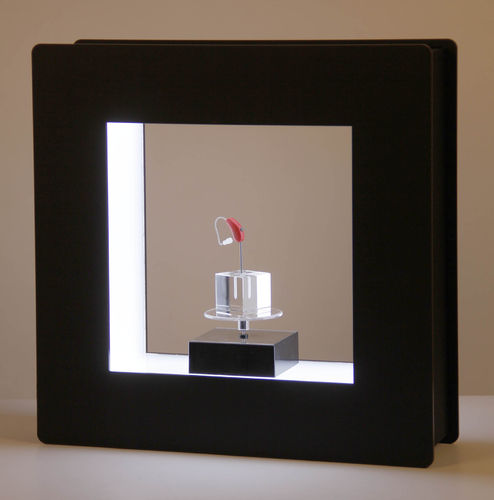 LED-WIN-Box black with solar rotary with glass cube 3x3x3cm
