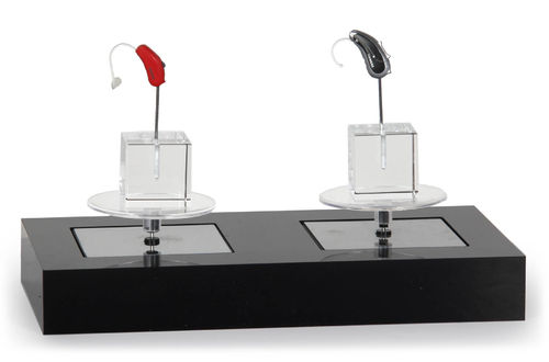 set presentations plate black with 2 solar rotary with gass cube 3x3x3cm